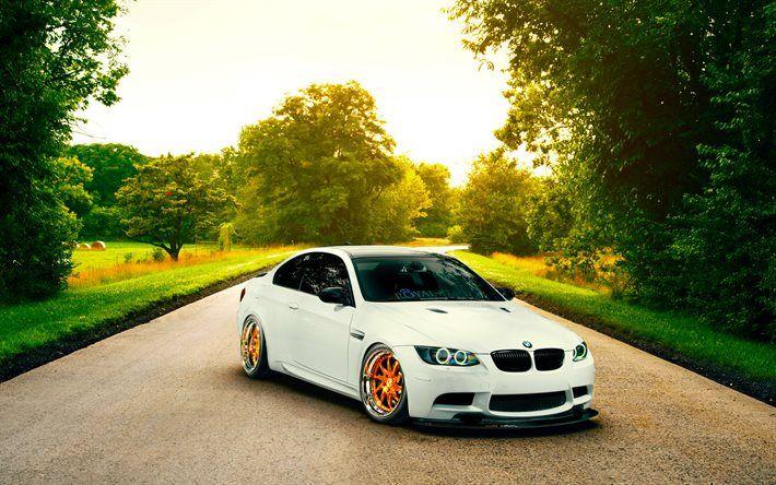 BMW M3, low rider, E92, golden wheels, tuning, white m3, BMW