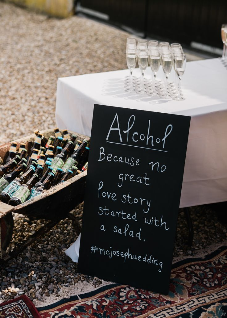 Wedding Reception Chalkboard Sign – North Hidden Barn For A Rustic Wedding With Festoon Lights And A Ceilidh With Groom In Kilt And Images From John Barwood Photography