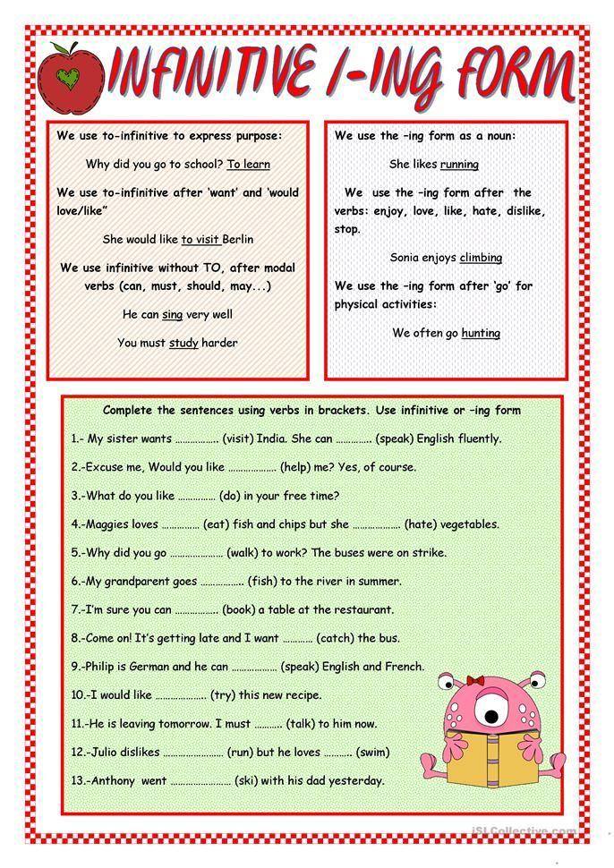 INFINITIVE/ -ING FORM | Grammar | Grammar rules, English ...