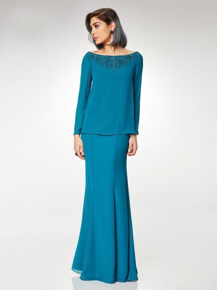 Clarisse – M6538 Beaded Embellished Neckline Long Sleeve Formal Dress