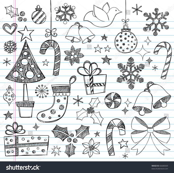 Hand-Drawn Christmas Sketchy Notebook Doodles- Vector Illustration Design Elements on Lined Sketchbook Paper Background