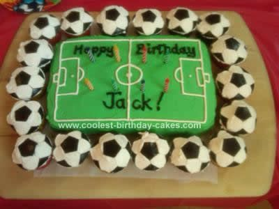 Homemade Soccer Ball Cupcake Cake: I had two challenges when making my son a Soccer Ball Cupcake Cake: I'm not great with icing, and a few party guests had food allergies. So I made a cupcake