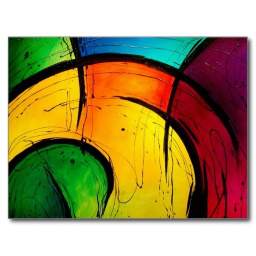 Funky Bright Colors Abstract Art Postcards