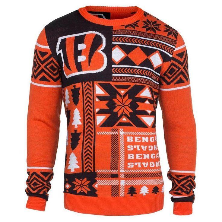 Cincinnati Bengals Patches Ugly Sweater NFL-CrewNeck NEW-2015 #ForeverCollectibles #CincinnatiBengals
