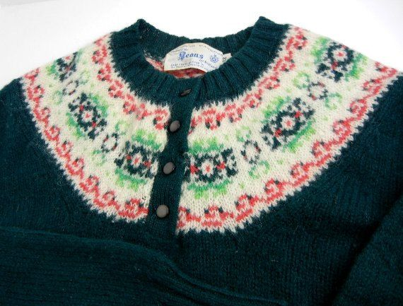 Vintage 1960s Fair Isle sweater original Deans of Scotland size XS ...
