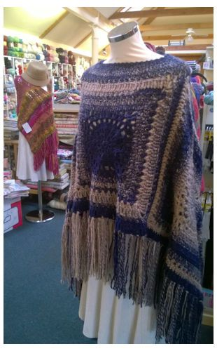 Free Crochet pattern for the Granny Square Poncho can be found on our Diss Wool and Crafts Blog, we used Stylecraft Ombre yarn
