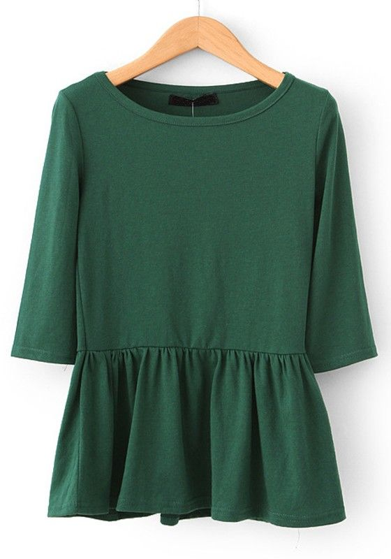 forest green peplum top