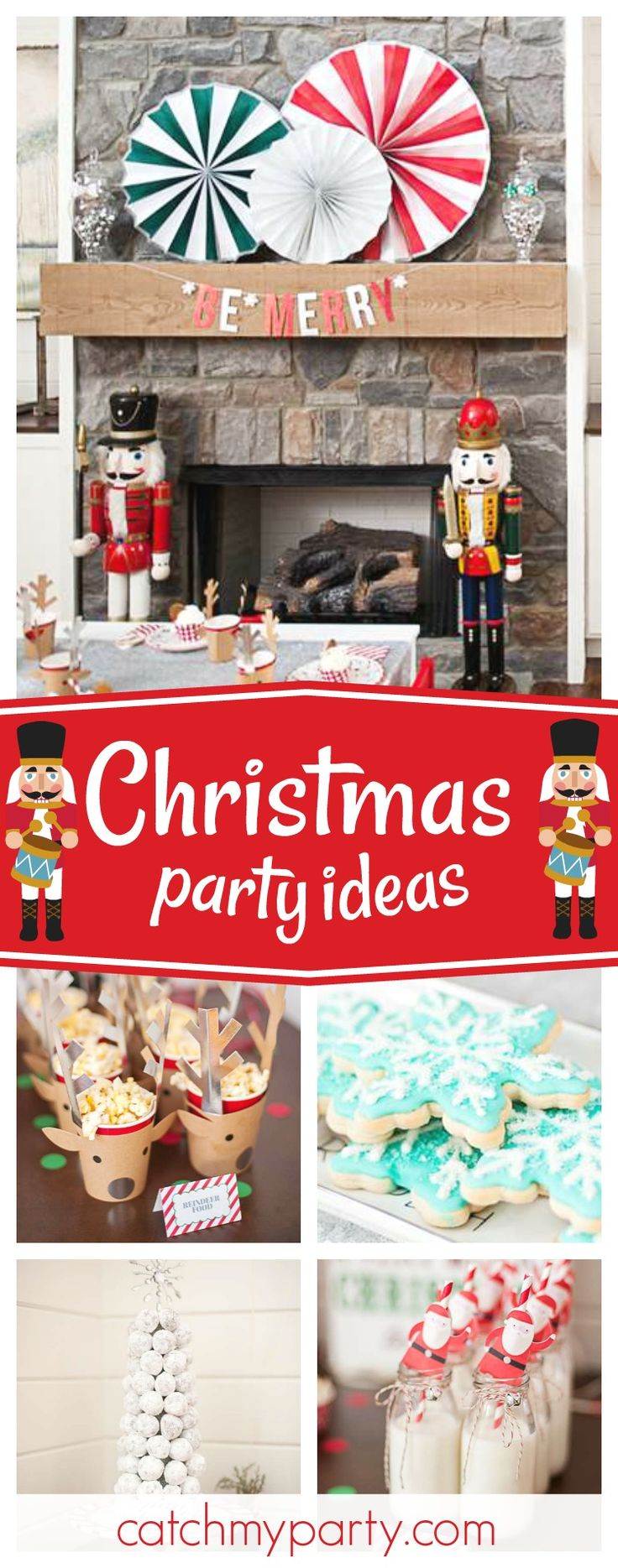 Take a look at this fun Christmas party! The reindeer paper cups are delightful!! See more party ideas and share yours at CatchMyParty.com #christmasparty #christmas #holiday