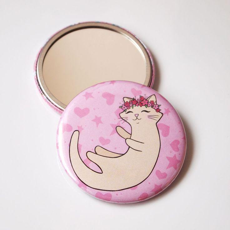 Flower Cat Pocket Mirror