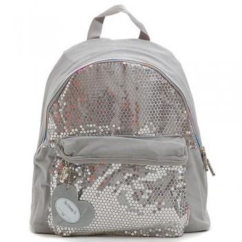 Twinkle Toes Silver Sequined Girls School Backpack Book Bag Tote