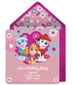 A collection of FREE PAW Patrol invitations. We love this design for a girls PAW Patrol birthday party. A digital template that's easy to personalize and send online for free.
