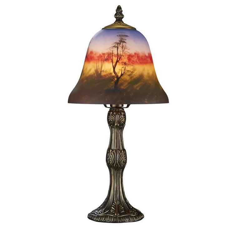 Forest Scene at Sunset Reverse Hand-Painted Glass Lamp