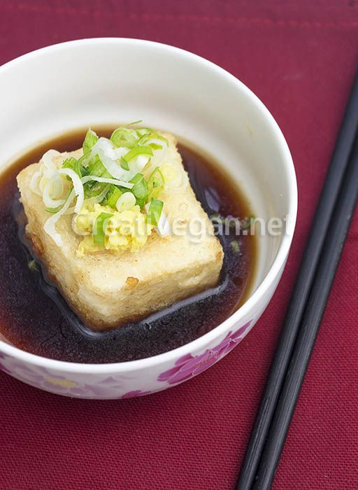 Agedashi tofu (in Spanish, with translator)