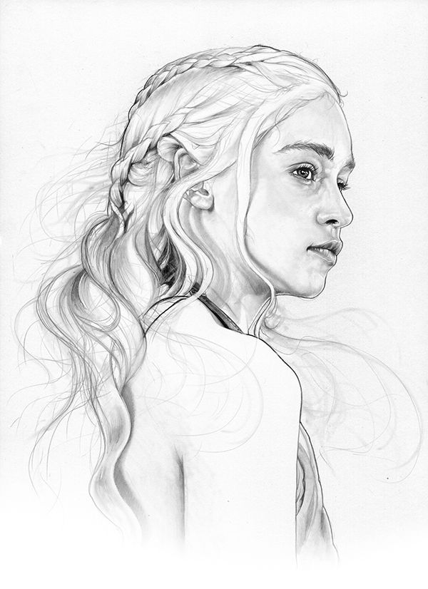 Emilia Clarke Daenerys Targaryen Khaleesi. Game of Thrones Character Drawings. To see more art and information about Corbyn S. Kern click the image.