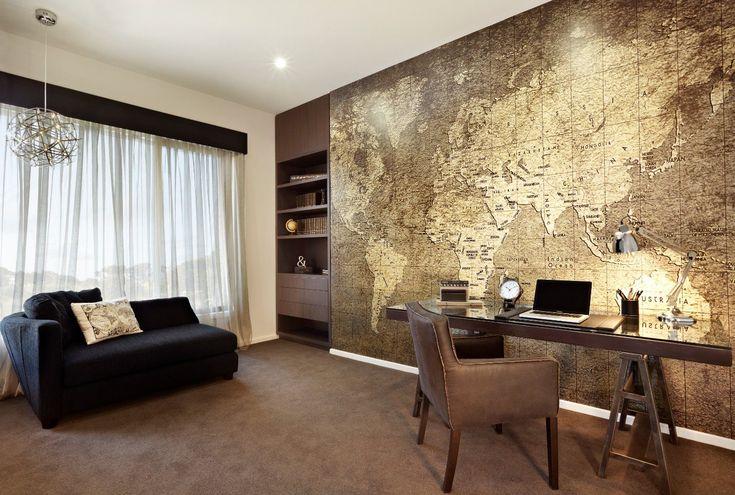 Ballarat display jg king homes love the world map for Wallpaper home office ideas