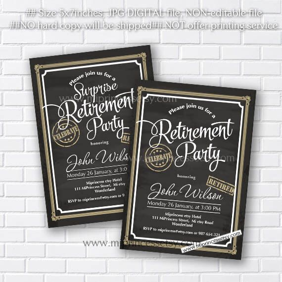 Retirement Invitations,  Retirement party Invitation,  Retirement Celebration retro vintage Invite, chalkboard blackboard design- card 562 by miprincess on Etsy https://www.etsy.com/listing/234786128/retirement-invitations-retirement-party