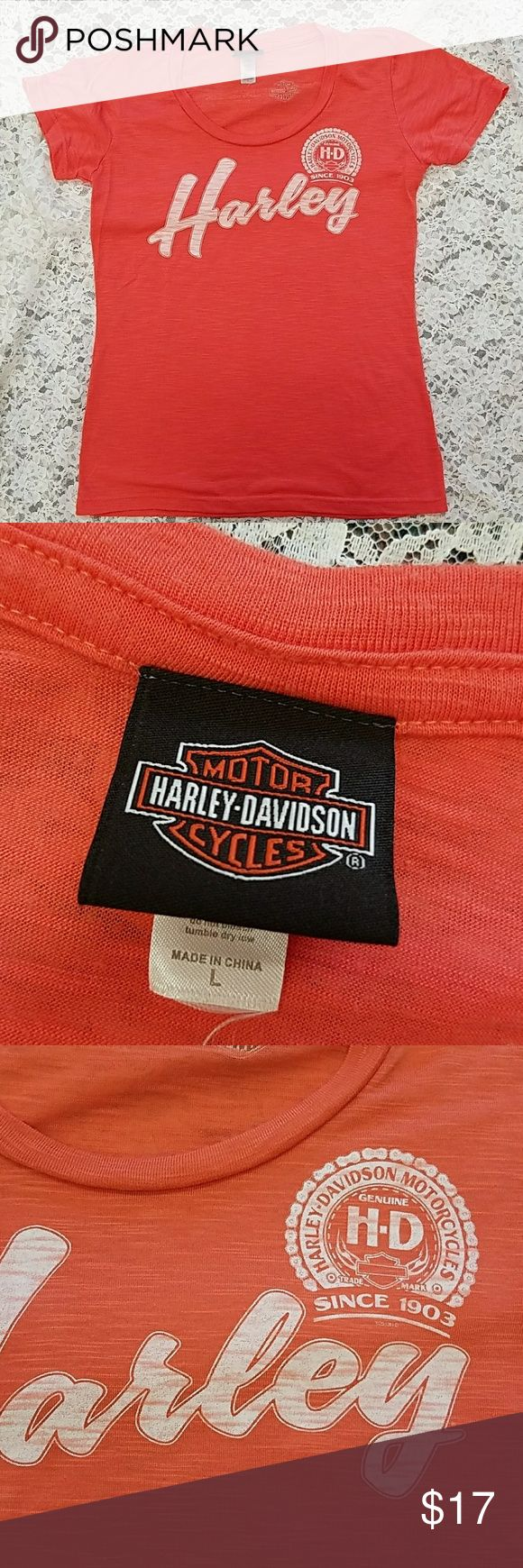 Harley Davidson orange shirt Large TN Up for sale is a super cute and soft shirt from Nashville that measures 36 inches around the chest and 25 inches long. This may fits a medium better Harley-Davidson Tops