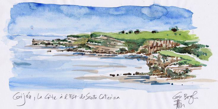 Gijon, la côte, à l'est de la ville. Grande plage (hors cadre... c'est pas intéressant, les plages...)