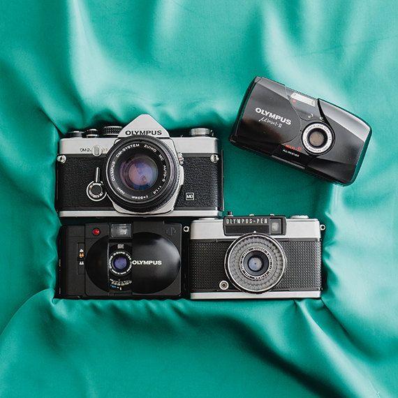 Olympus XA2 functional vintage 35mm film analog by FolkCamera, Olympus OM-2n, Olympus mju-II, Olympus Pen EES-2