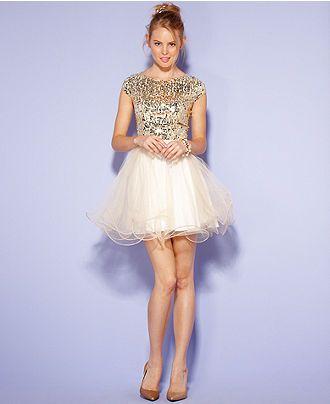 6b7282af9 Juniors Dress, Cap Sleeve Sequin Tulle - Juniors Dresses - Macy's