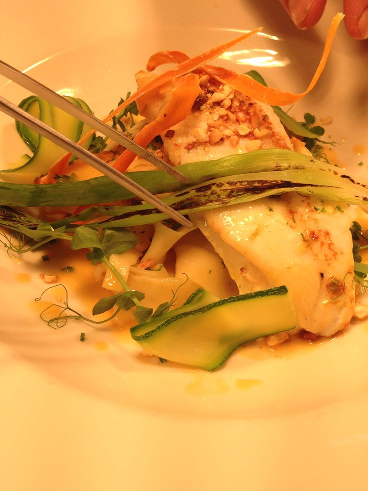 Fillet of John Dory with Pasta, Carrot Crisp, Courgette and finished with a Carrot Beurre Blanc...