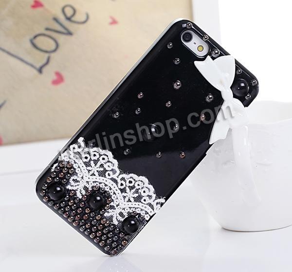 iPhone 5G Handy Hülle, Kunststoff, mit Spitze & Harz & ABS Kunststoff, Rechteck, für 5G, schwarz, 126x60x13mm, verkauft von Stück - perlinsh...