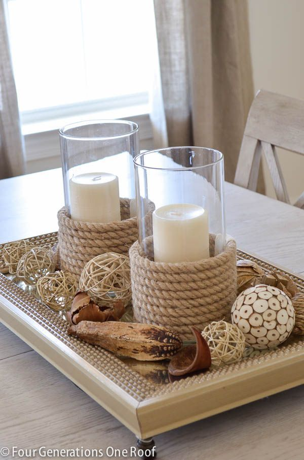 Create a centerpiece with a tray, candles and vase filler. I Love these candle holders and vase filler from @HomeGoods (sponsored). See how I made my own DIY candle holder using sisal roping. DIY:: Timeless Budget Decor! Perfect For Spring & Summer