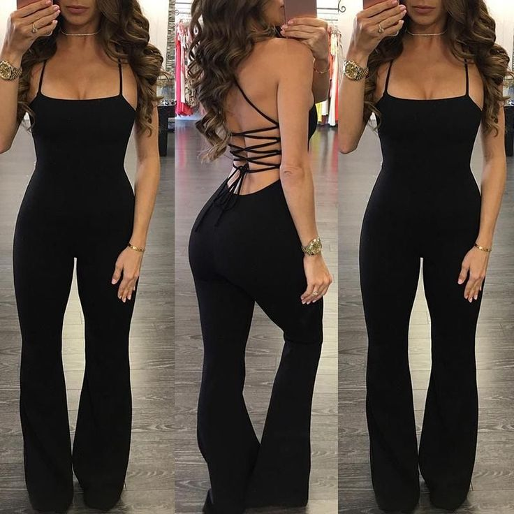 Trendy Lace-up Open Back Flared Jumpsuit