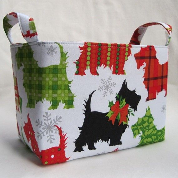 Fabric Organizer Storage Container Bin Basket - Christmas Scotty Scottie Dogs