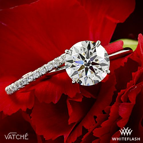 """a MATCH made in HEAVEN!  Designed to shine, the Vatche """"Serenity"""" Diamond Wedding Ring has been paired beautifully with our gorgeous Vatche """"Bliss"""" Solitaire #EngagementRing"""