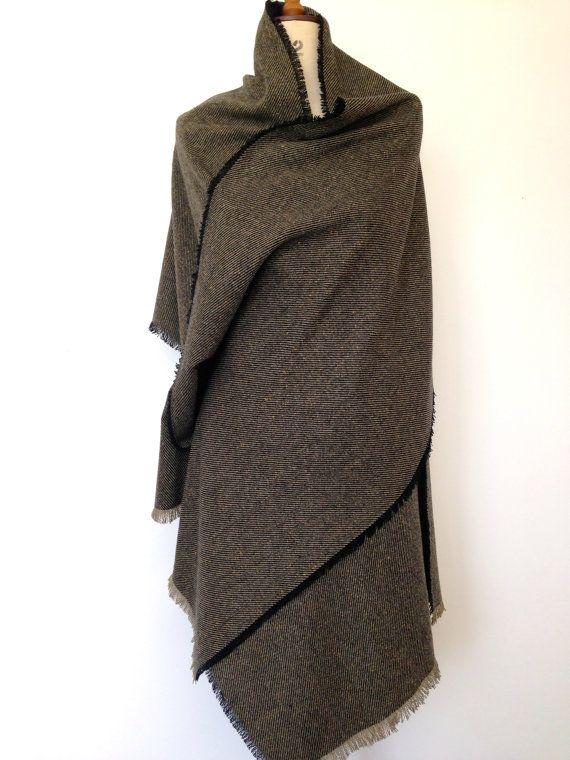 Olive Green Oversized Scarf - Blanket Scarf - Herringbone Wool Tweed Large Scarf Winter Shawl Mens Poncho - Mens Scarves Gifts - Made in UK