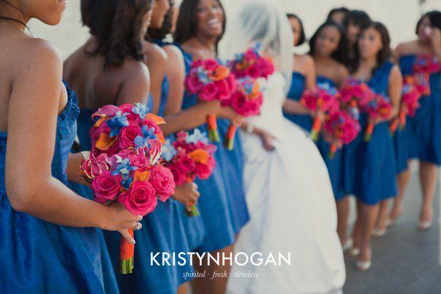 I believe i found my colors!! :))  rhonda patton weddings, design, blue, pink, orange, nashville wedding