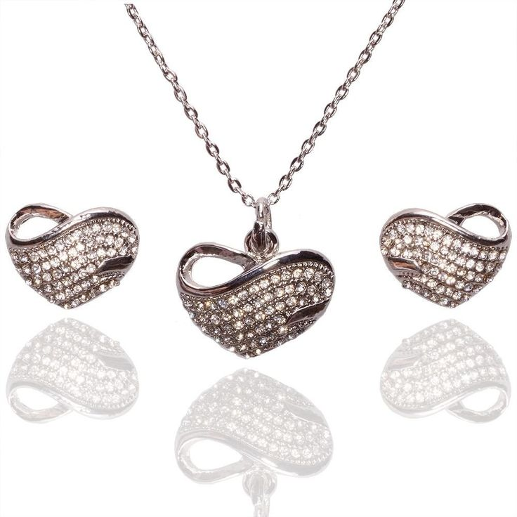collection Of necklace Women Fashion Rhinestone Silver Wedding Jewelry Set Crystal Necklace Pendant - MaLyMoR