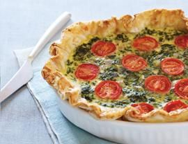 Spinach, Feta, and Tomato Quiche Recipe | Vegetarian Times