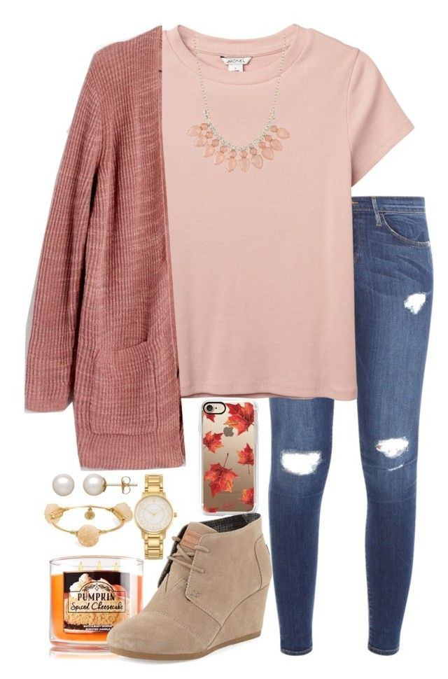 #fall #outfit / Salmon Cardigan + Beige Wedge Bootie