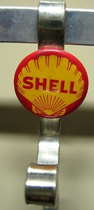 1950s Shell Oil Company Pinback Button Invoice Clip Hook Advertising