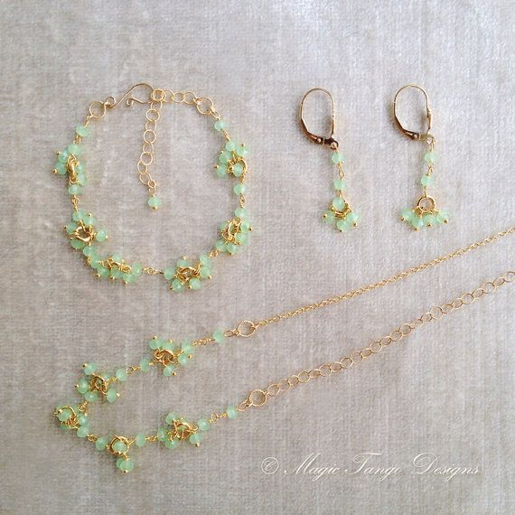 Apple Green Peridot Jewelry Delicate Set - Bracelet - Earrings - Necklace - Exquisite Gorgeous - 24K Vermeil wire and Gold Filled Chain