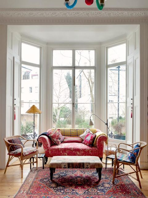 40 best images about living room in a row house on pinterest for What furniture to put in a bay window
