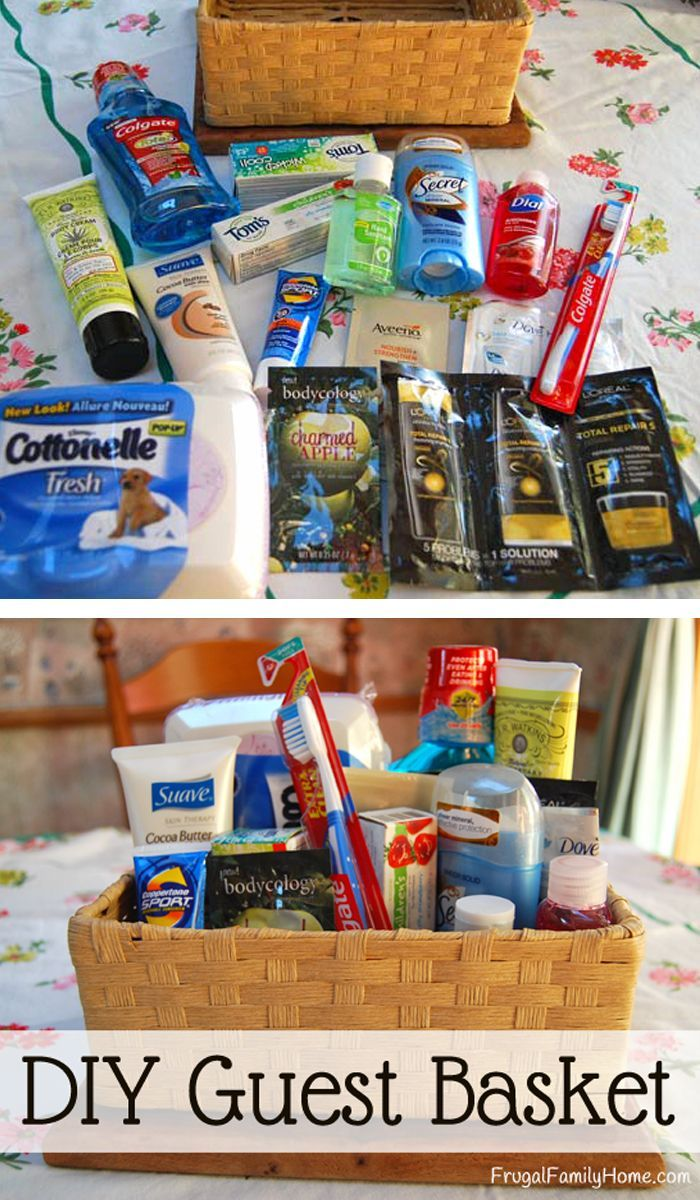 Got free samples? Put those free samples to good use in a guest basket for your guest bedroom or bathroom.