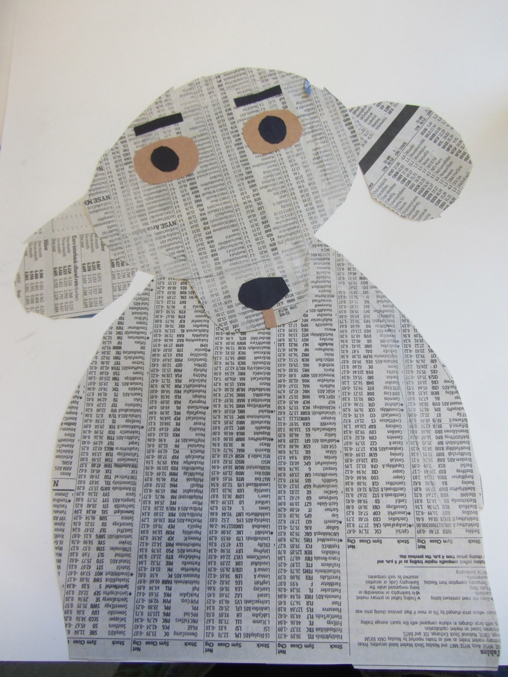 Denise Fielder dog collages 2nd grade (each student named his or her dog and then wrote a story about them.)