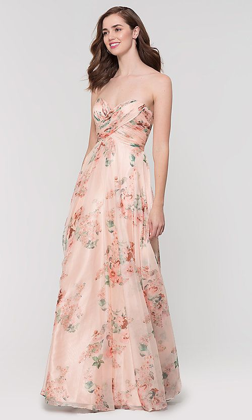 e08dd21f68 Image of strapless floral-print bridesmaid dress by Kleinfeld. Style   KL-200149 Detail Image 3