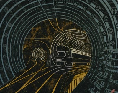 Post Office Tube Railway - artwork for a poster, by Edward Bawden, circa 1935 - I love the colours, the composition and the content. S