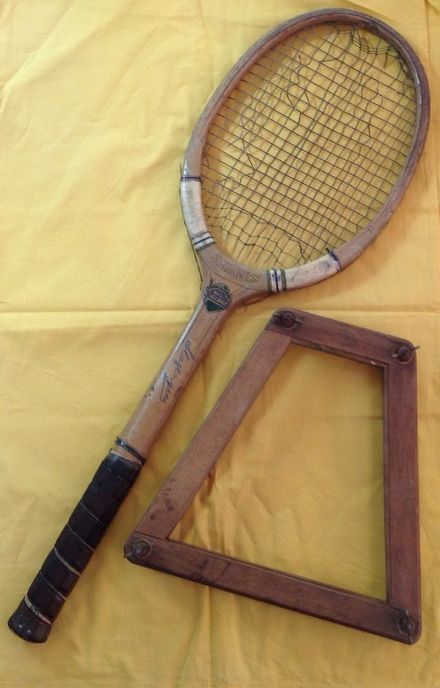 Vintage Slazenger All England Tennis Racket And Wooden Frame Circa 1930 s-1940 s