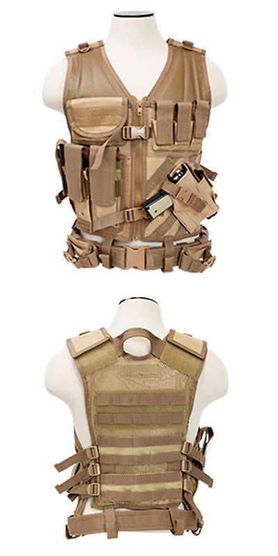Clothing and Protective Gear 159044: Ncstar Military Tactical Vest Heavy Duty Regular W/ Holster Large Ctvl2916t Tan BUY IT NOW ONLY: $36.95