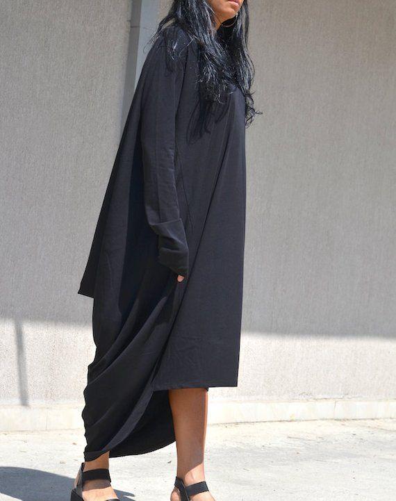 7bf8e9db518 Extra Long Sleeves Caftan High Low Maternity Dress Black