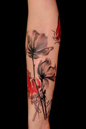 lotus watercolor tattoos, forearm tattoos, woman tattoos, flower tattoos