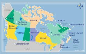 Map of Canada. 10 Provinces and 3 Territories