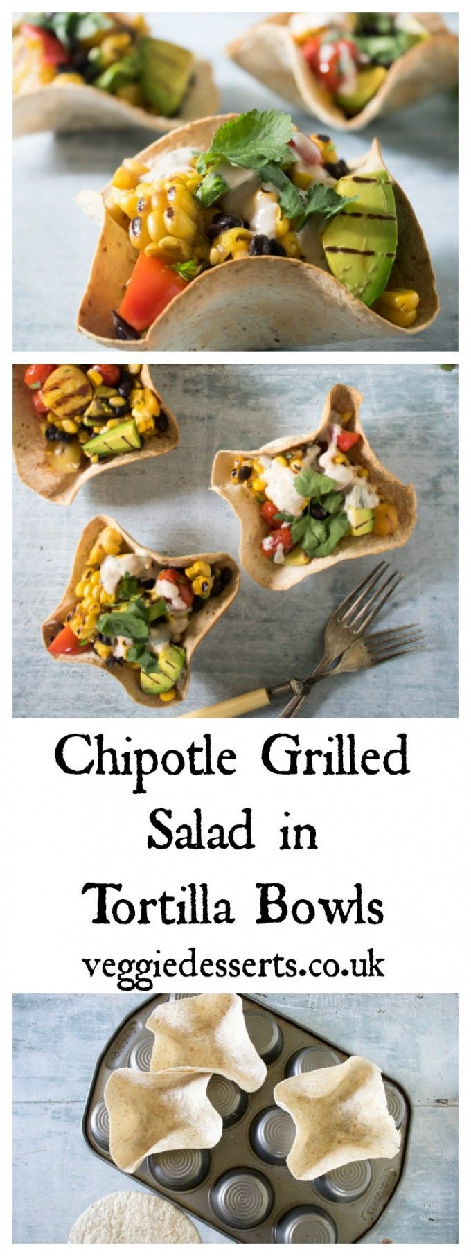Mexican Chipotle Grilled Salad in Tortilla Bowls   Veggie Desserts Blog >>> Don't these tortilla bowls look great? They're fun, but so easy to make. I've filled them with a salad of chipotle black beans, and barbecued corn, potatoes, mango and peppers. >>