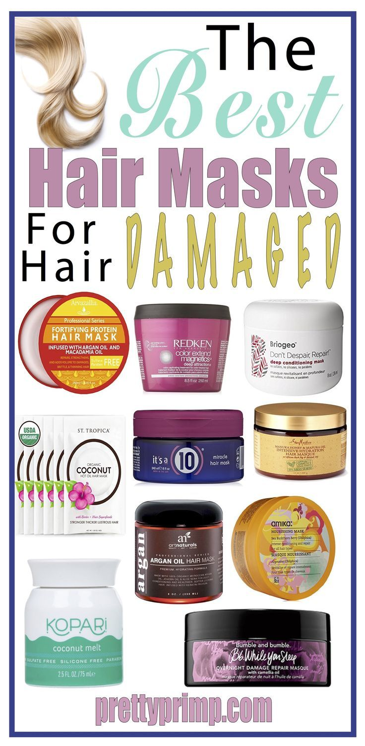 The best hair masks for growth and repairing damaged hair. Whether your hair is damaged by being dry, having split ends, or being dull, these masks will restore shine, body, and moisture to your locks. #healthyhair #hairmasks #beautytips #hairgrowth