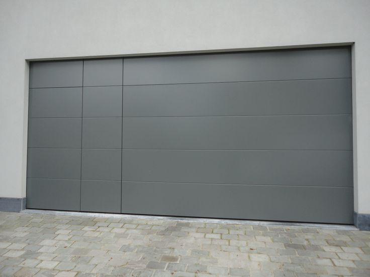 garagepoort sectionaalpoort met deur, poort en vaste wand in hetzelfde vlak, aluminium uitvoering